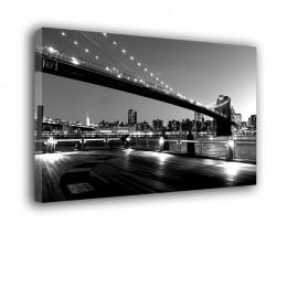 Czarno biały most Brookliński - obraz na płótnie nr 2221
