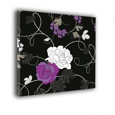 Róże na czarnym tle - obraz nowoczesny kwiaty nr 2252