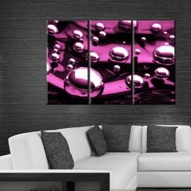 Tryptyk fioletowe bąbelki - obraz nowoczesny abstrakcja nr 2623