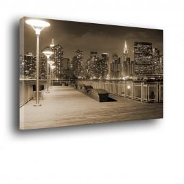 obraz na ścianę z pomostem i miastem