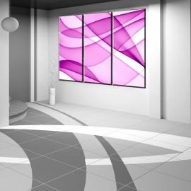 Różowe linie abstrakcja - obraz na płótnie tryptyk nr 2626