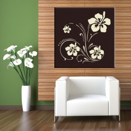 Kremowe kwiaty na brązowym tle - obraz na płótnie nr 2337