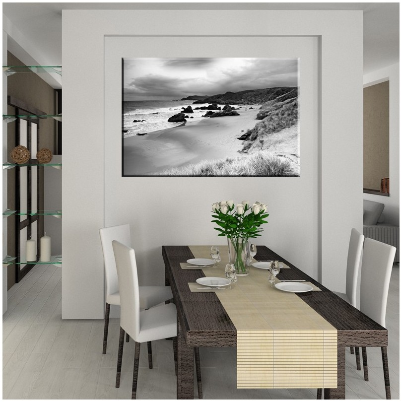 Czarno Biały Brzeg Morza Obraz Na Płótnie Nr 2361
