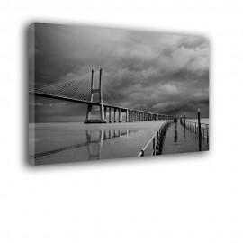 Czarno biały most Vasco da Gama - obraz na ścianę nr 2364