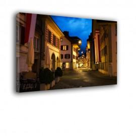 Noc latarnie uliczka - obraz na płótnie nr 2365