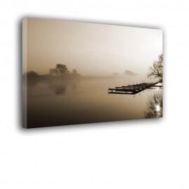 obraz na ścianę z pomostem za mgłą