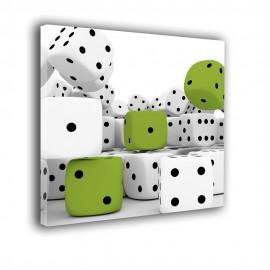 Zielone kości do gry - obraz nowoczesny nr 2475
