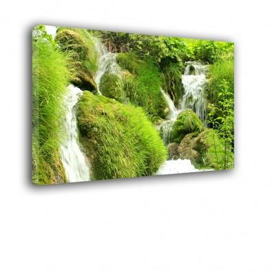 Zielony wodospad - obraz nowoczesny krajobraz nr 2513
