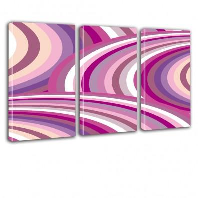 Różowa abstrakcja - obraz na płótnie tryptyk nr 2057