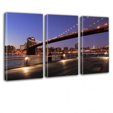 Most nocą - obraz na płótnie - tryptyk nr 2605