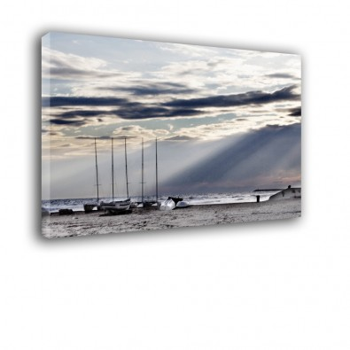 Żaglówki na plaży - obraz na ścianę nr 2132