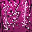 Różowe kropki - nowoczesny obraz - abstrakcja nr 2139