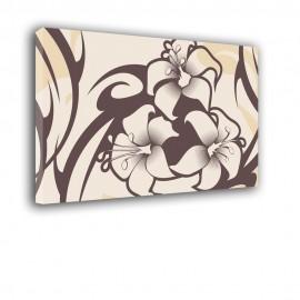 Brązowo kremowe - obraz nowoczesny - kwiaty nr 2140