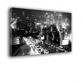 Autostrada noc czarno biała - obraz na ścianę nr 2203