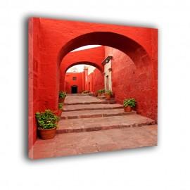 Czerwona uliczka - obraz na płótnie nr 2232
