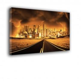 Droga do miasta nocą - obraz nowoczesny nr 2233