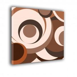 Brązowe i kremowe kółka - obraz nowoczesny abstrakcja nr 2250