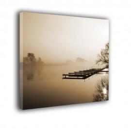 Kładka na jeziorze we mgle - obraz nowoczesny nr 2283