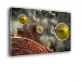 Metaliczne planety w kosmosie - obraz na płótnie nr 2329