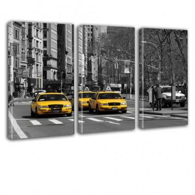 Ulica New York TAXI - obraz na płótnie tryptyk nr 2630