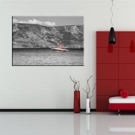 Czerwona motorówka - obraz nowoczesny nr 2508