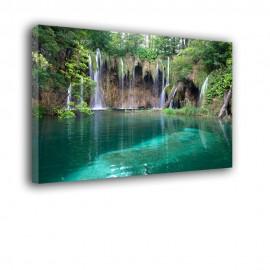 Turkusowy wodospad - obraz nowoczesny krajobraz nr 2149