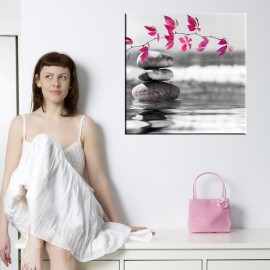 Kamienie z gałązką - obraz na ścianę do łazienki nr 2036