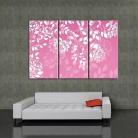 Rózowa gałązka - obraz na płótnie - tryptyk nr 2604