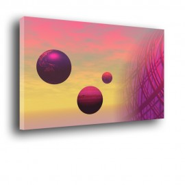 obraz z abstrakcyjnymi planetami